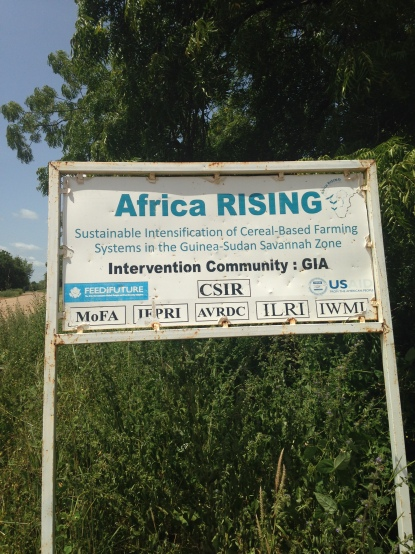 Signboard promoting development project, Upper East Region 2015