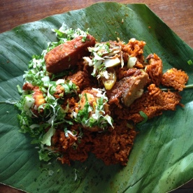 Jollof rice and wagashi (cheese), Accra 2016