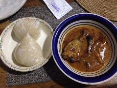 Eba, light soup and chicken